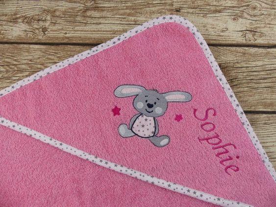 Kapuzenhandtuch Babyhandtuch Mit Namen Hase Bubblegum Rosa Fur