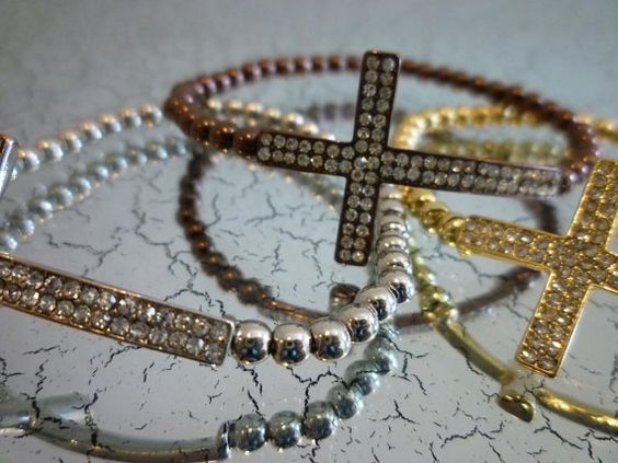 Pave Sideways Cross by derng on Etsy, $11.00
