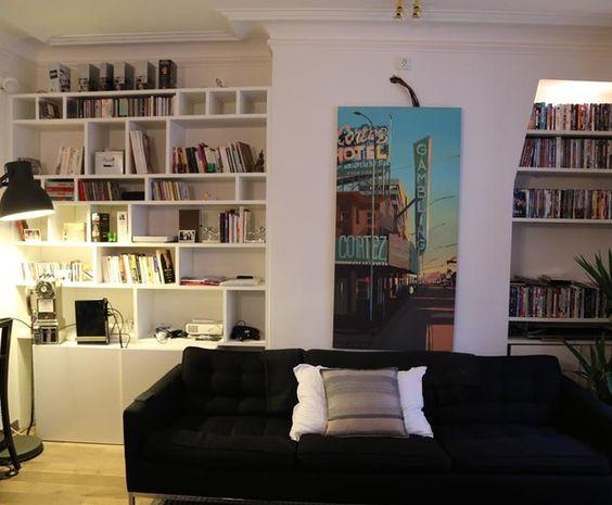 Photo Deco : Salon  Blanc  Design   Appartement boudoir noir bleu graphique