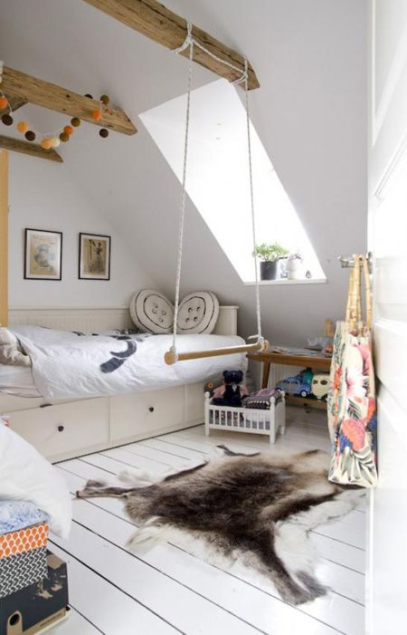 Kid's Room in Copenhagen with Rustic Wood Beams | via Nordic Bliss blog | House & Home: