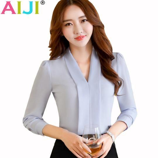 Women Ladies OL Career Business Lapel V Neck Long Sleeve Solid Shirt Blouse Tops