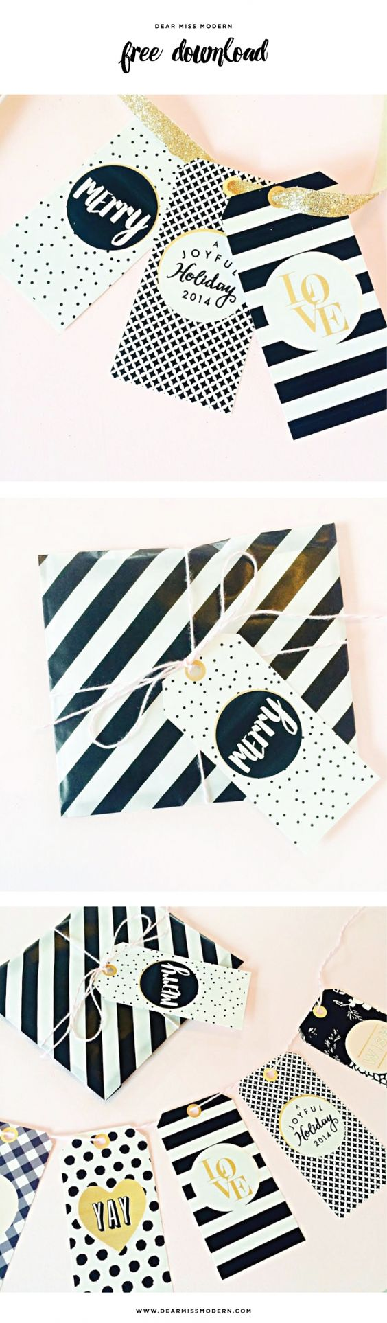 Free Download . . . Chic Holiday Gift Tags from Dear Miss Modern: