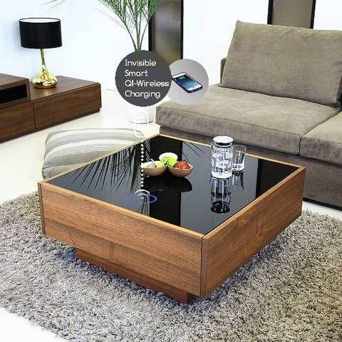 Sleak Wireless Charging Led Glass Coffee Table Oak In 2020