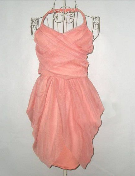 sweet sexy pink halterneck dress