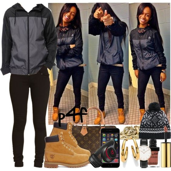 A fashion look from December 2014 featuring skinny jeans, timberland shoes and brown handbags. Browse and shop related looks.