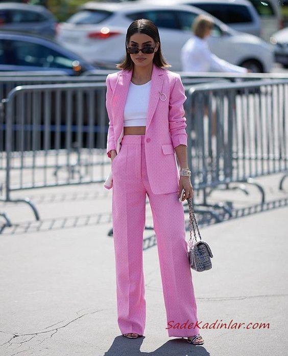 2019 Bayan Takim Elbise Kombinleri Pembe Bol Kesim Pantolon Beyaz Bustiyer Pembe Uzun Ceket Gri Stiletto Ve El Cantasi Moda Haftalari Takim Elbise Paris Moda Haftasi