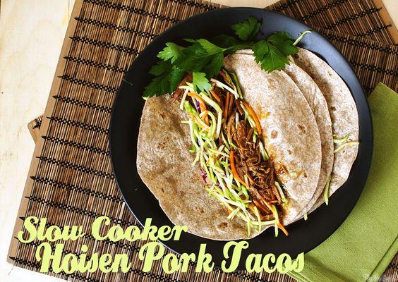 Slow Cooker Hoisen Pork Tacos with Broccoli Slaw