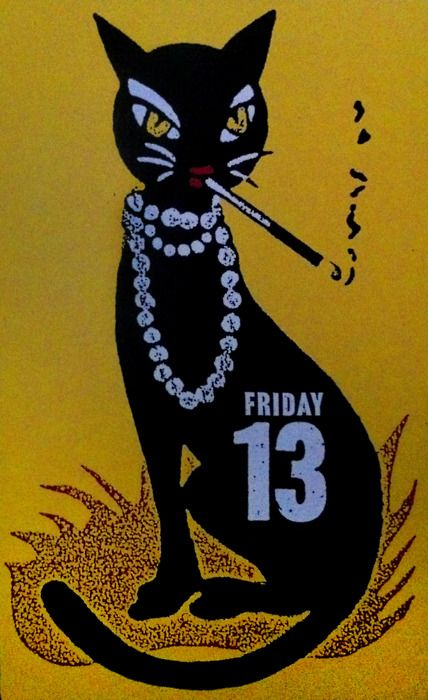 Friday the 13th. Can't get enough of these vintage black cat pictures. These inspired my jewellery collection Black Cat Moon. Check it out here : http://rositabonita.com/collections/black-cat-moon