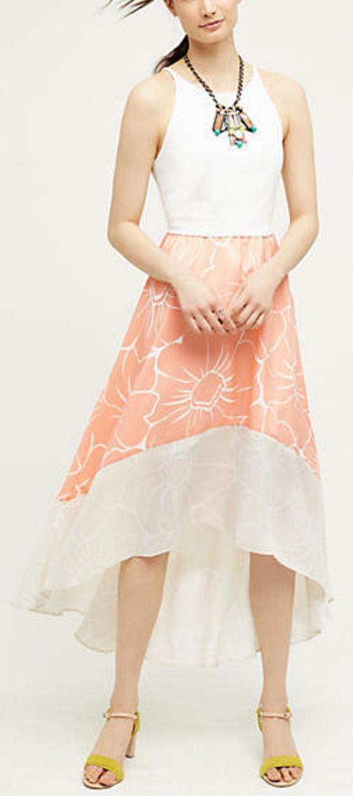 Hi-Low Halter Neck Dres with Peachy Floral Skirt