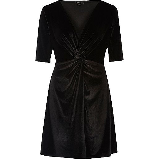 Zwarte fluwelen skaterjurk met knoopeffect - skaterjurken - jurken - dames river island 45 euro