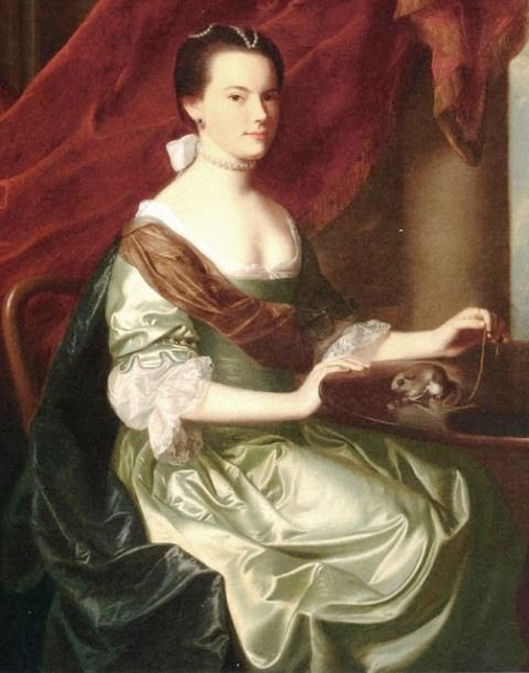 John Singleton Copley – Frances Deering Wentworth (Mrs. Theodore Atkinson, Jr.) with Squirrel – 1765