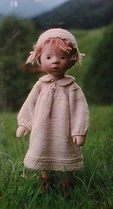 36cm Doll: Neue Münchner Kinderpuppen® (Munich's new child dolls) by Elisabeth Pongratz. Dolls created from wood & textiles.