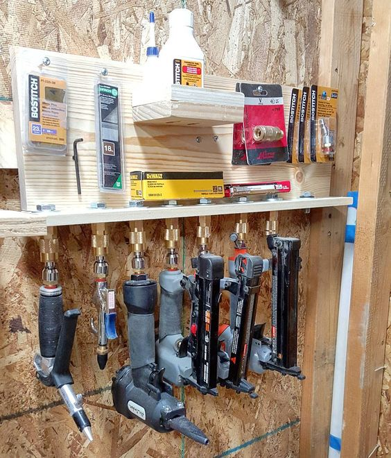 """""""I put the finishing touches on my french cleat air tool rack that uses old and…"""