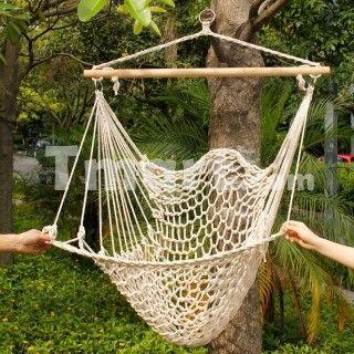 Silla colgante silla tejida hamaca decoracion pinterest for Sillas colgantes para jardin
