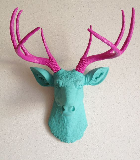 Teal & Pink Deer Head Wall Mount by BananaTreeStudios on Etsy: