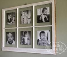 DIY antique window picture frame with instructions on how to stick the pictures to the glass!