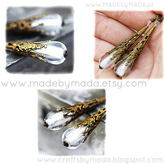 Icy White Murano Victorian Style Long Dangle by MADEbyMADA on Etsy, $27.00