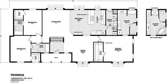 Tr30683a Line Drawing Ensuite Bedrooms Floor Plans Modular Home Floor Plans Manufactured Homes Floor Plans