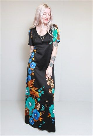 Vintage 1970's Silky Black Floral Maxi Dress: