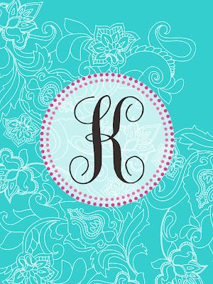 Free Monogram Printables from the pink elephant.  These are iPad and iPhone Wallpapers, but resized would make a nice DIY cover page.  Entire alphabet available, I just like K :)