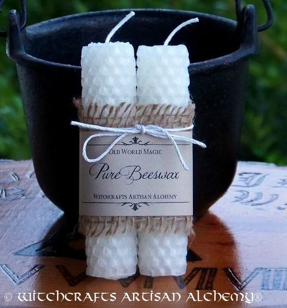 Witchcrafts Artisan Alchemy - WHITE WITCHCRAFT Hand Rolled Pure Beeswax Spell Taper Candles, Set of 2, $9.95 (http://www.witchcraftsartisanalchemy.com/white-witchcraft-hand-rolled-pure-beeswax-spell-taper-candles-set-of-2/)
