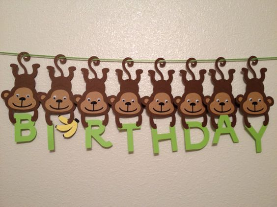 Sure I could have a bashat making similiar would look great on a gift box. Monkey Birthday Banner Baby Shower Banner by CheshireCrafter, $35.00