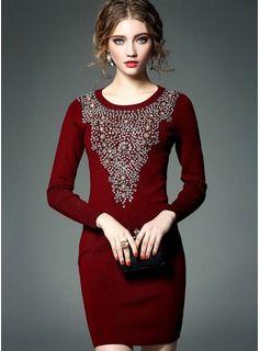 Über dem Knie Rundhals Polyester Wollen 30% Polyester 70% Wolle wulstige Stitching Lange Ärmel Modekleider