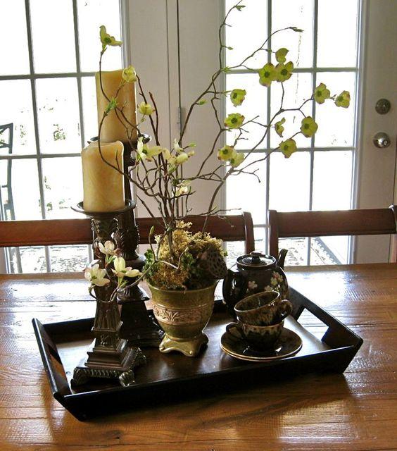 Bandeja decorada para centro de mesa decoraciones - Decoraciones de mesas de comedor ...