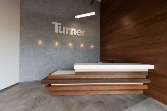 Turner Construction: San Diego / Custom Reception Desk / Industrial Style / Concrete / Wood / Minimalist