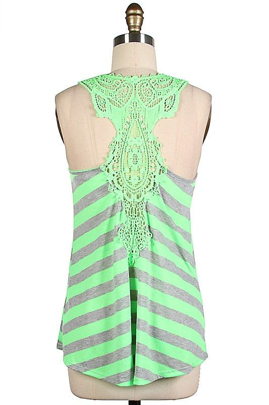 $29 - Striped Crochet Lace Tank - Color Options www.BetsyBoosBoutique.com