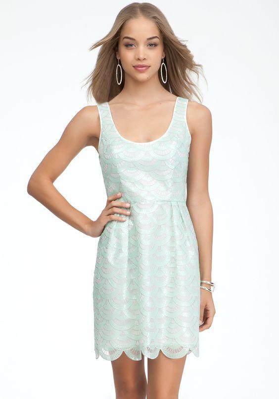 Organza & Sequins Dome Dress - Honeydew - M