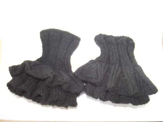 Chauffe poignet en laine noir : Mitaines, gants par leucanthemum