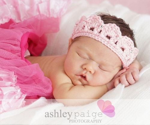 ILC Crochet Newborn Baby Girls Princess Crown Tiara Headband Photo Prop