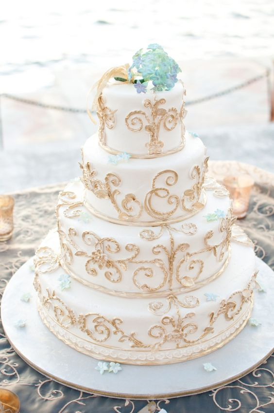 Cake Baker: Cakes by Ron Zammit -- Elegant Blue and Gold Italy Inspired Wedding