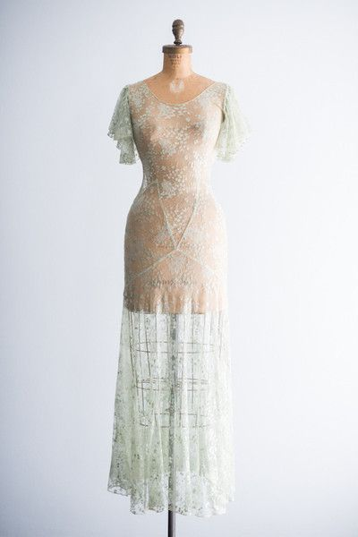 1930s mint green lace dress with slip