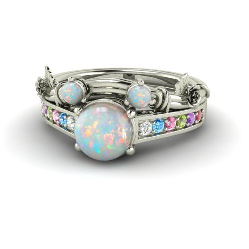 disney inspired round opal bridal set engagement by diamondere - Opal Wedding Ring Sets