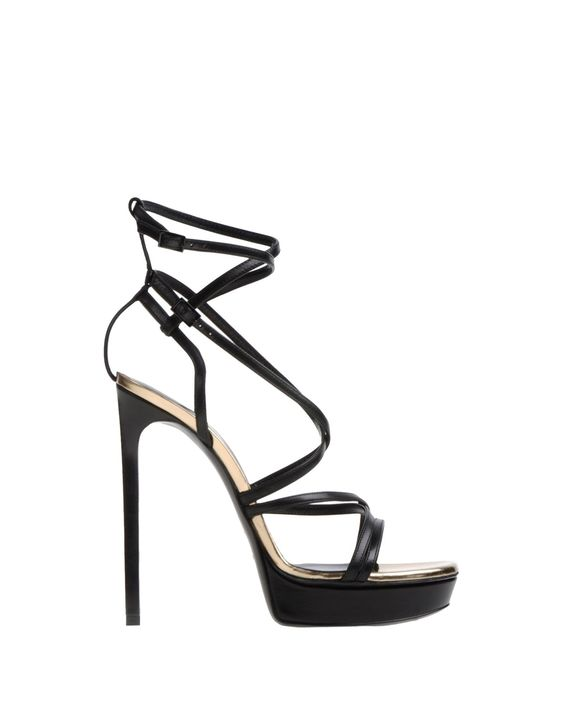 Saint Laurent Platform Sandals in Black | Lyst