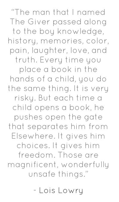 "Lois Lowry, Newbery Medal Acceptance Speech, 1994  ""Every time you place a book in the hands of a child..."""