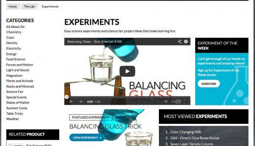 Experiments websites science Kids Science