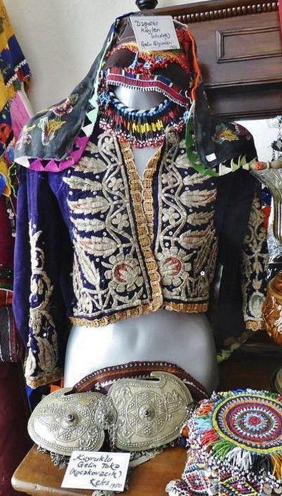 Several garments, used in traditional bride-wear.  From the villages near Keles (South of Bursa).  On exhibit in the Misiköy Etnografya Müzesi (Bursa).