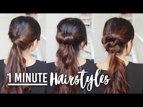 1 Minute Hairstyle Hacks Easy Hair Tutorials For Medium To Long Hair Youtube Running Late Hairstyles Hair Tutorial Hair Tutorials Easy