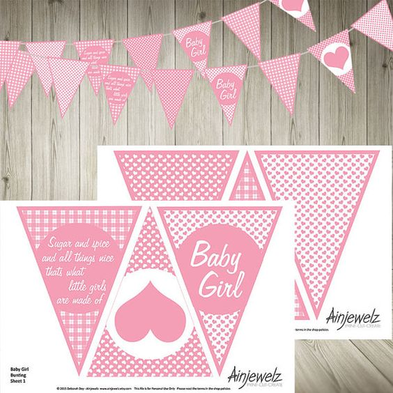 Pink Baby Girl Bunting Garland Flags INSTANT DOWNLOAD baby shower celebrate birth hearts gingham check sugar spice party paper decoration