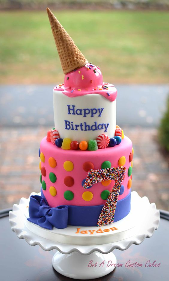 Katy Perry inspired birthday cake with ice cream cone.