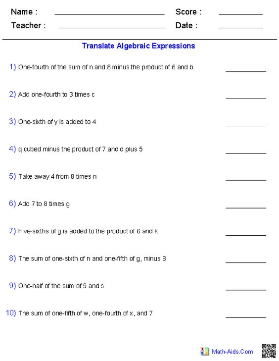 9 best Expressions and Variables images on Pinterest Math - algebraic multiplication worksheet