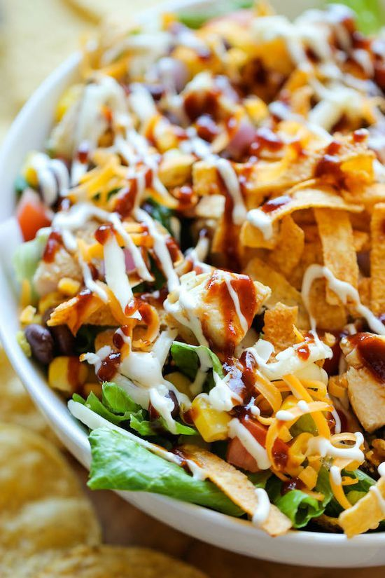 BBQ Chicken Salad -  2 cups roasted corn, 1 can black beans and 1 avocado