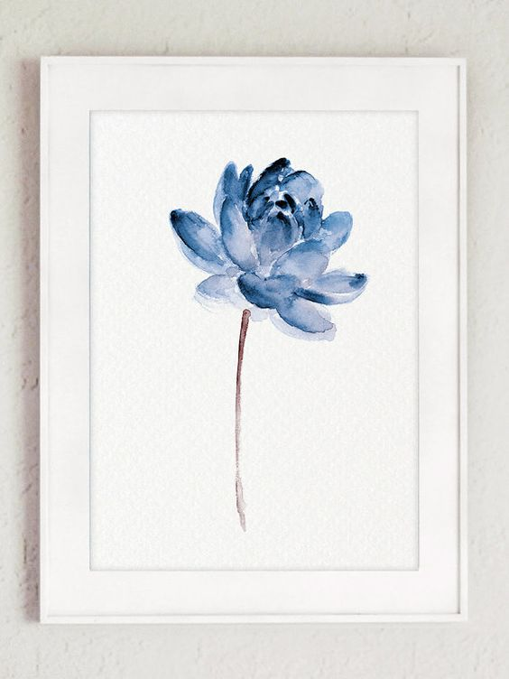 Blue Lotos Watercolor Painting Abstract Flower by ColorWatercolor