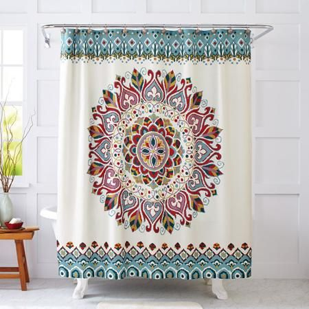 Better Homes and Gardens Medallion Fabric Shower Curtain - Walmart.com