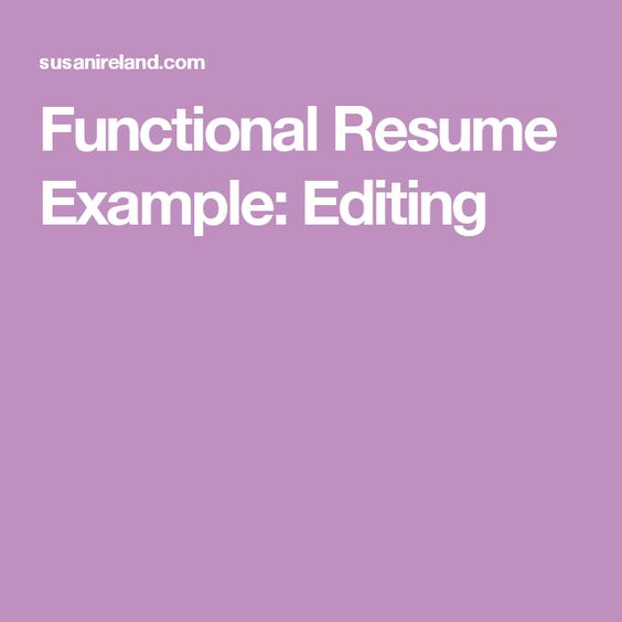 Functional Resume Example Editing Career Misc Pinterest - functional resume example