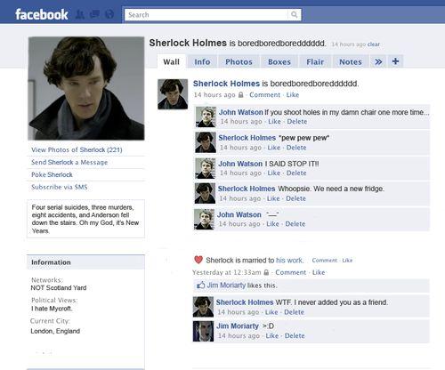 Sherlock's Facebook. Epic.