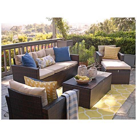 5 piece outdoor patio set with storage